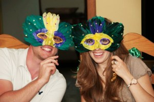 Amy and Josh decked out for Mardi Gras